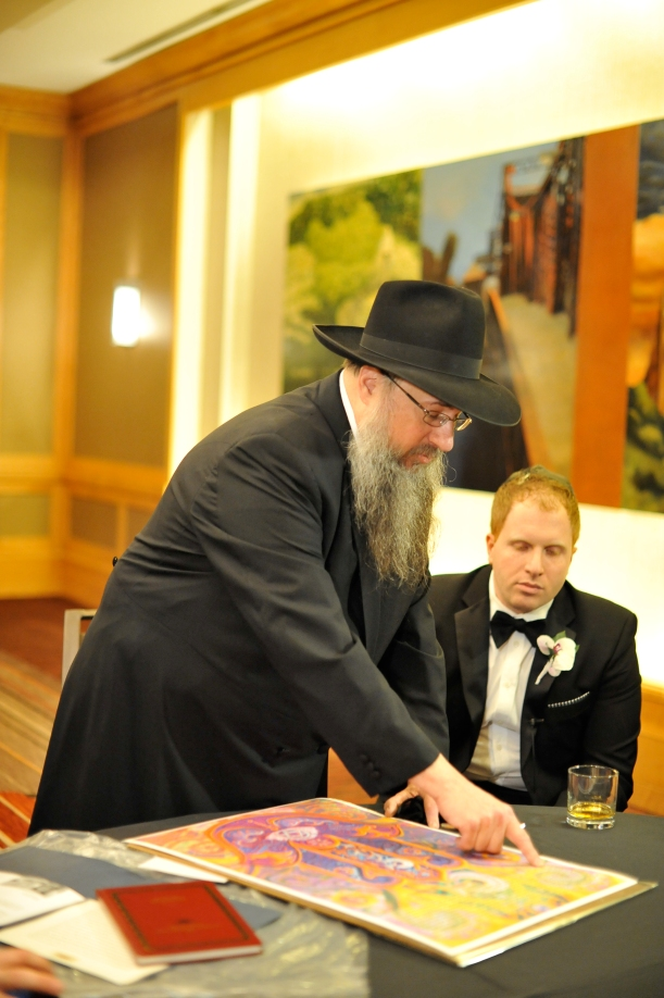 The ketubah ceremony and tisch at a jewish wedding